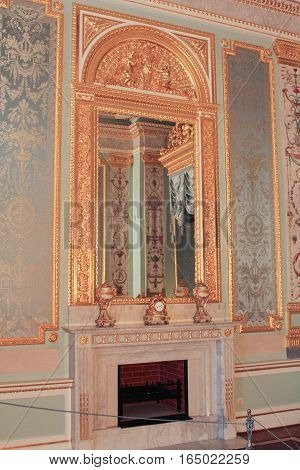 Gatchina, Russia - 3 December, The mirror over the fireplace in the bedchamber, 3 December, 2016. Visit the Museum Reserve Gatchina Palace.