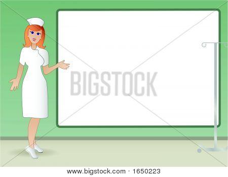 Nurse With Sign