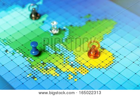 Pushpins On A Map Of Africa And Europe