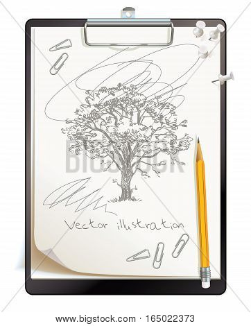 Black clipboard with a painted sketch. Tree drawing drawn in pencil. Top view. Vector illustration. Isolated on white background. Set