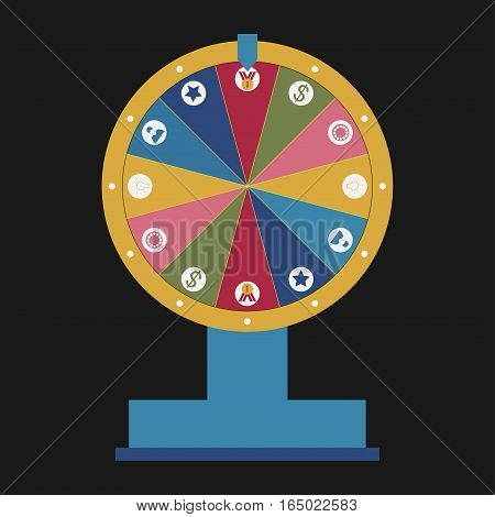Wheel of fortune with business icons set - vector
