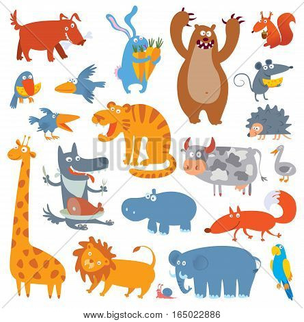 Cute zoo animals. Vector illustration. Isolated on white background. Set