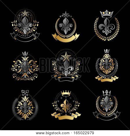 Lily Flowers Royal Symbols Emblems Set. Heraldic Coat Of Arms Decorative Logos Isolated Vector Illus