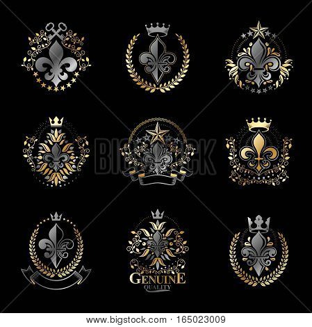 Lily Flowers Royal symbols emblems set. Heraldic Coat of Arms decorative signs isolated vector illustrations collection.