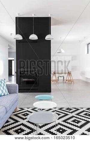 Minimalist Living Room With Black Fireplace