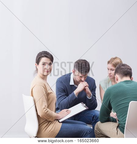 Psychotherapist And Her Group
