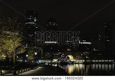 Early morning view of Rowes Wharf in Boston from Fan Pier