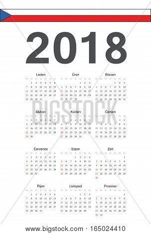 Czech 2018 Year Vector Calendar