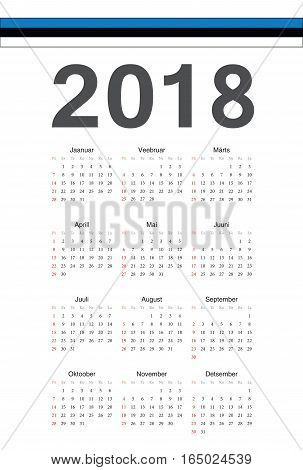 Estonian 2018 Year Vector Calendar
