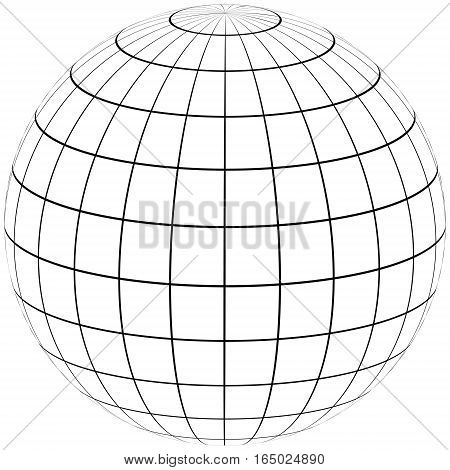 graticule globe Meridian and parallel , the field lines on the surface Meridian and parallel, vector template graticule