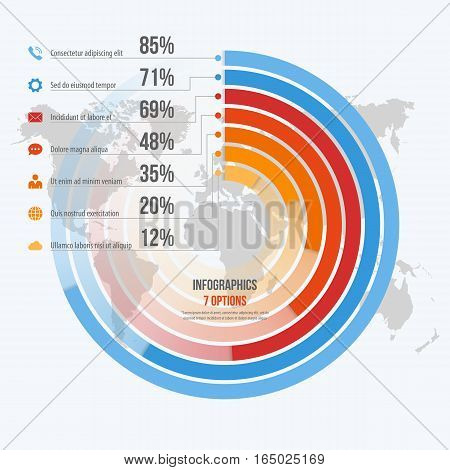 Vector Template For Circle Informative Infographics With 7 Options For Presentations, Advertising, L