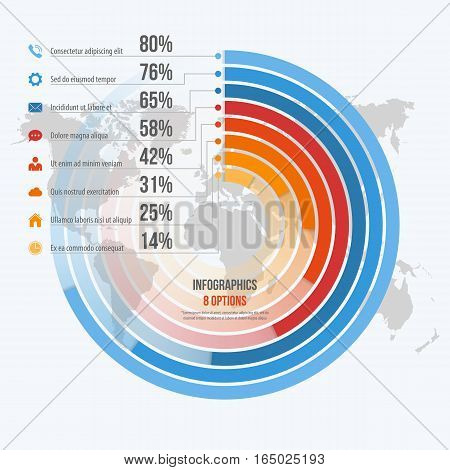 Vector Template For Circle Informative Infographics With 8 Options For Presentations, Advertising, L