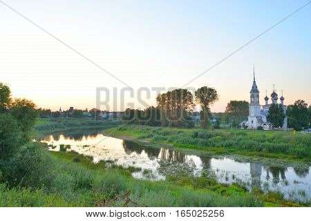 Vologda River in Vologda City at summer sunset Russia.