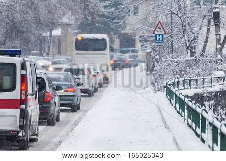 Traffic Jam In The Middle Of Winter. Snow Calamity.