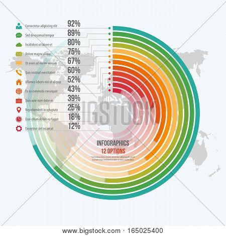 Vector Template For Circle Informative Infographics With 12 Options For Presentations, Advertising,