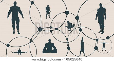 Human Communication Background. Vector brochure or web banner design template. Connected circles with dots. Medical and sociology background. Social network. Bodybuilder silhouette posing.