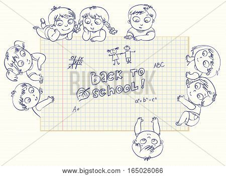 Cute little kids show a blank exercise book for your text entry. Vector illustration