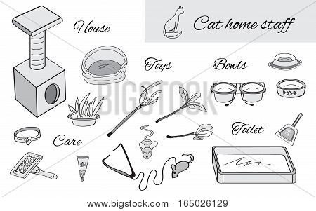 Set of objects for cat care. Cat house, toilet, bowls, toys elements