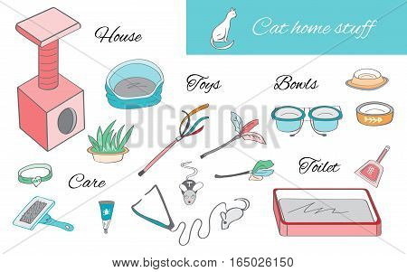Set of color objects for cat care. Cat house, toilet, bowls, toys elements.