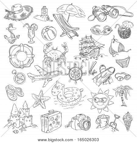 Freehand drawing summer vacation on a sheet of exercise book. Vector illustration. Set