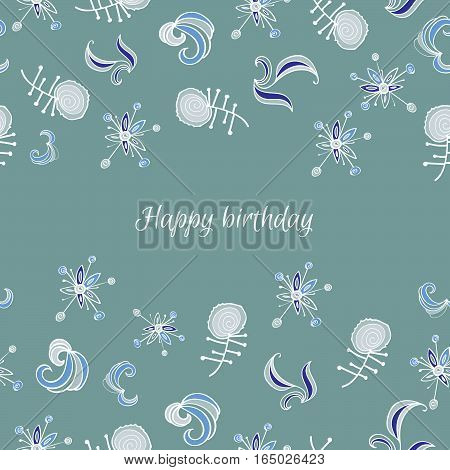 Greeting card with fantastic flowers and branch. Deep background, blue shades. Happy birthday