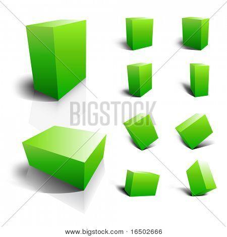 Leere Vektor 3D Boxen - grün-set