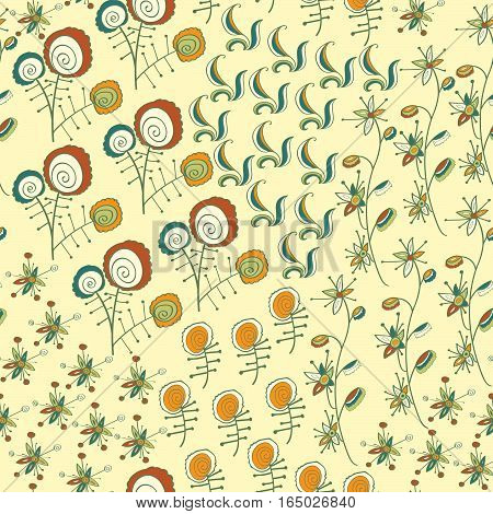 Seamless pattern with fantastic flowers and branch. Bright deep colors. Usable for wrapping, textile, paper.