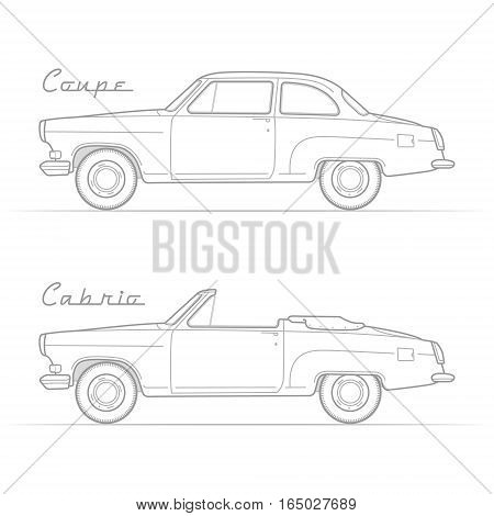Two isolated retro cars in silhouette line style with sample text. Two-door coupe and cabrio. Typical vintage vehicle. Car vector stock image.