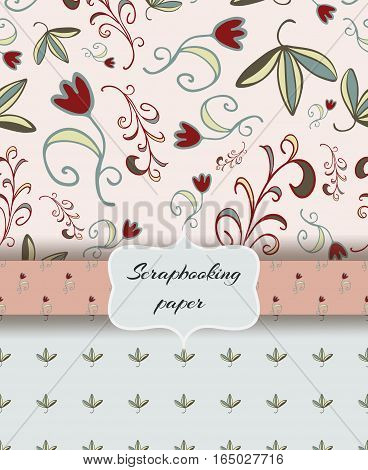 Set of scrap booking papers, floral backgrounds.