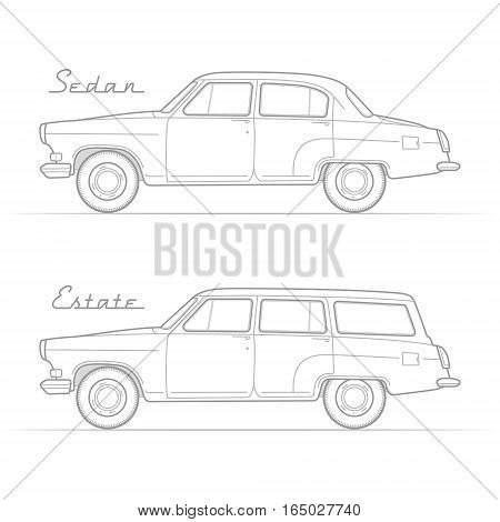 Two isolated retro cars in silhouette line style with sample text. Four-door sedan and wagon. Typical vintage vehicle. Car vector stock image.