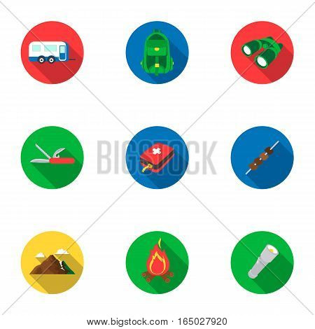 Camping set icons in flat design. Big collection of camping vector symbol stock illustration