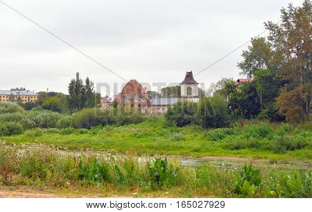 View of Vologda city with old ruined temple, Russia.