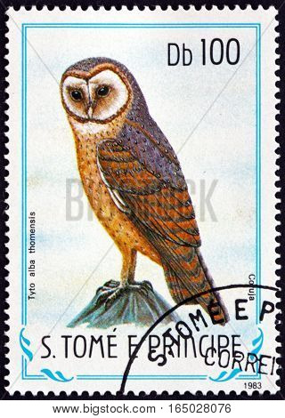 SAO TOME AND PRINCIPE - CIRCA 1983: a stamp printed in Sao Tome and Principe shows Sao Tome Barn Owl Tyto Alba Thomensis Endemic Bird circa 1983