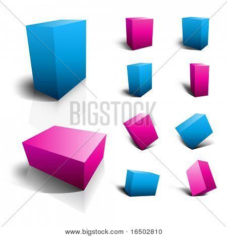 Blank 3D Boxen - Verpackung Icons | Blau und lila Set