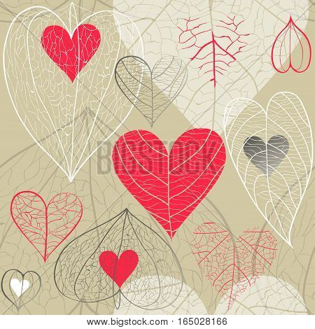 Seamless hand drawn vector pattern of red and white hearts with plant veins physalis and leaves on beige background. Concept of for Valentine's Day weddings autumn.