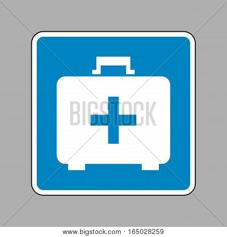 Medical First aid box sign. White icon on blue sign as background.