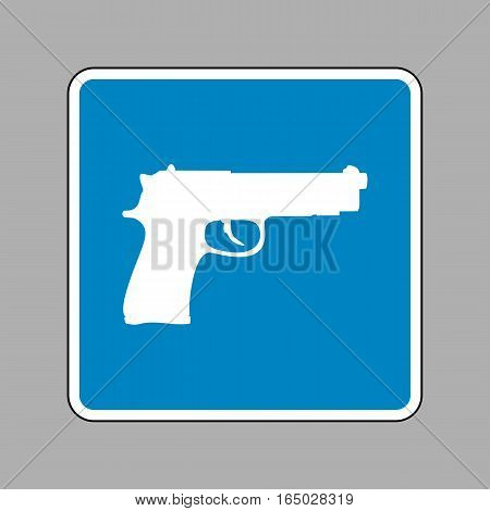 Gun sign illustration. White icon on blue sign as background.