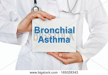 Bronchial Asthma Card In Hands Of Medical Doctor