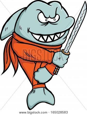 Shark Ninja with Sword Cartoon Character Isolated on White Background