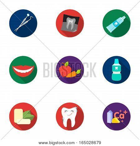 Dental care set icons in flat design. Big collection of dental care vector symbol stock illustration