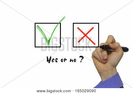 Yes No Tickbox With Green Red Tick