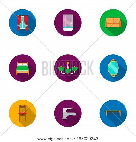 Furniture set icons in flat style. Big collection of furniture vector symbol stock