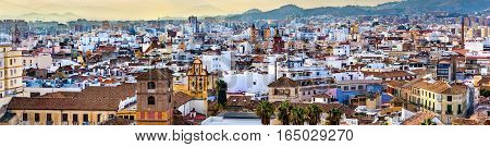 Scenic panorama of Malaga from the Alcazaba - Andalusia, Spain