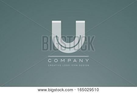 Alphabet letter U transparent white grey vector logo icon sign design template