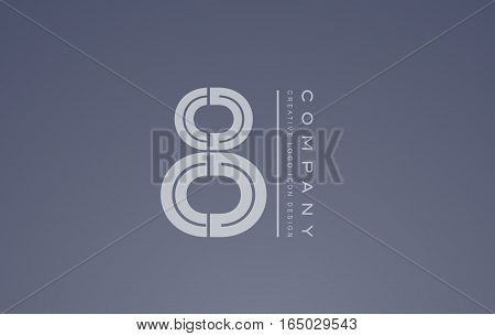Number eight 8 transparent white blue vector logo icon sign design template