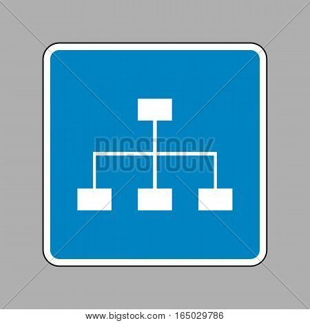 Site map sign. White icon on blue sign as background.