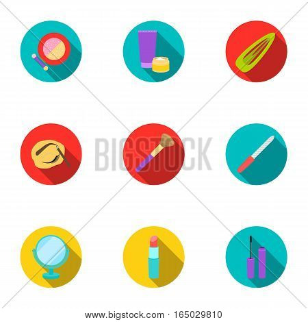 Make up set icons in flat style. Big collection of make up vector symbol stock