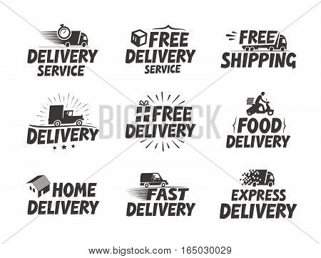 Fast delivery, set icons. Free shipping symbol. Vector illustration isolated on white background
