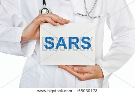Sars Card In Hands Of Medical Doctor
