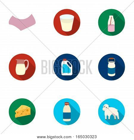 Milk set icons in flat style. Big collection of milk vector symbol stock